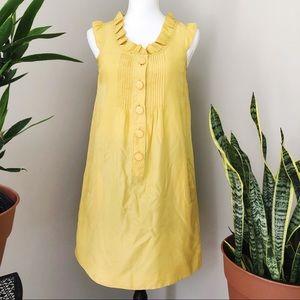 Anthropologie Maeve cap sleeve yellow silk dress